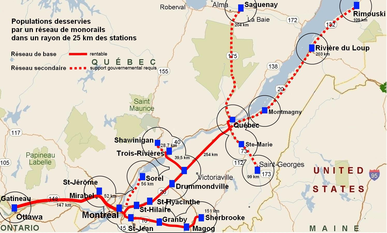 Carte du réseau MGV